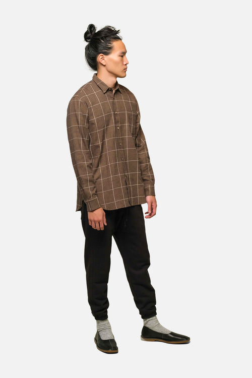 1905 SHIRT IN COFFEE WINDOWPANE PLAID - Fortune Goods