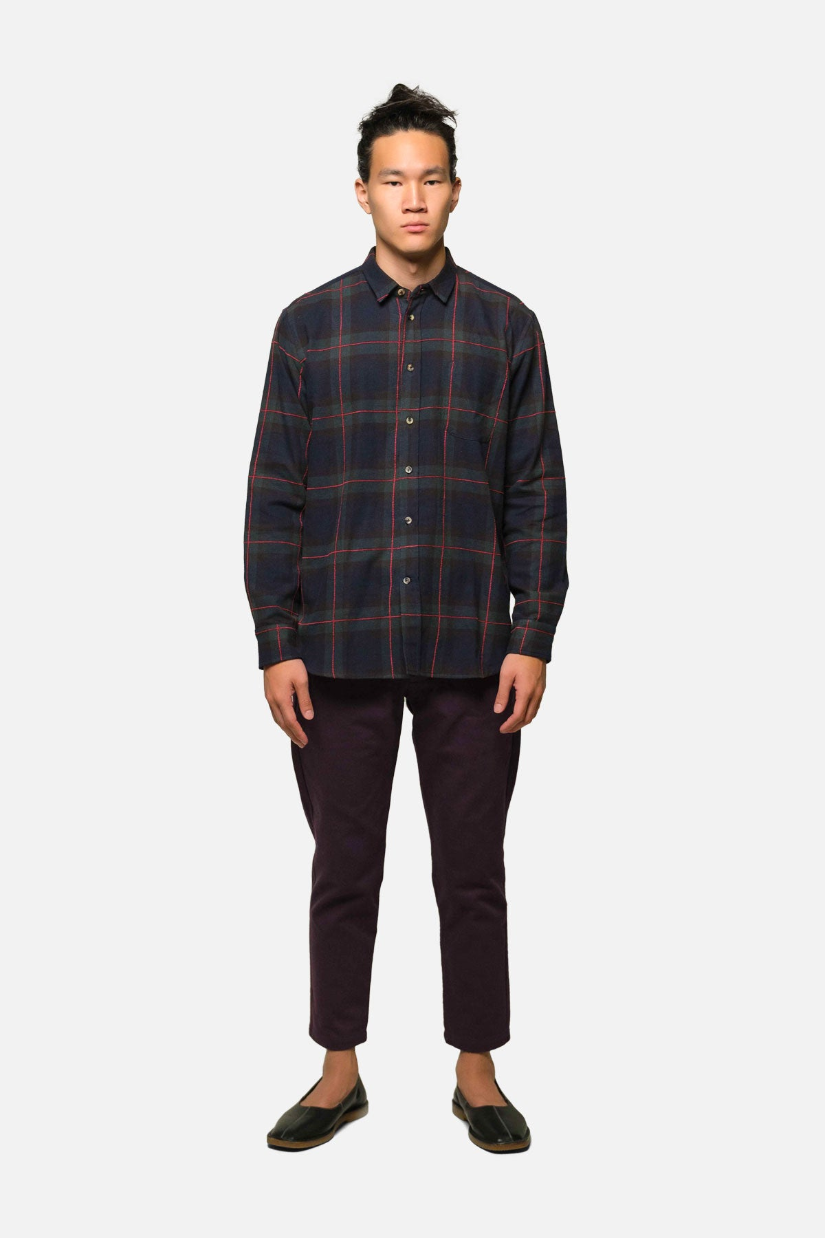 1905 SHIRT IN NAVY WINDOWPANE PLAID - Fortune Goods