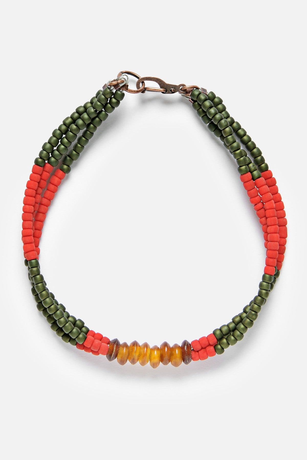 MONTAGNARD BEAD BRACELET IN RED / GREEN / AMBER - Fortune Goods