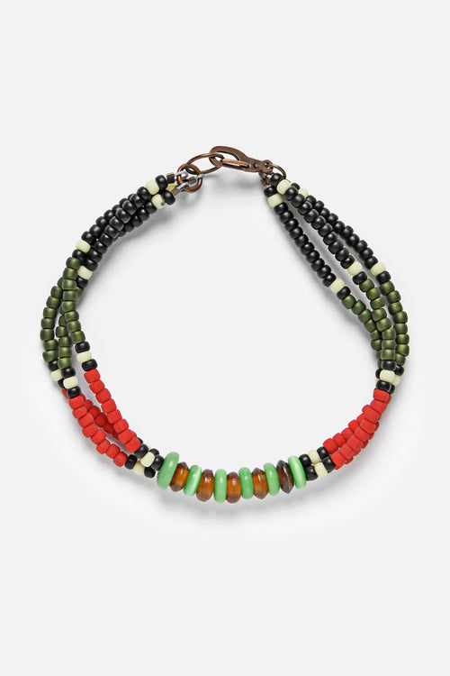 MONTAGNARD BEAD BRACELET IN RED / BLACK / JADE - Fortune Goods