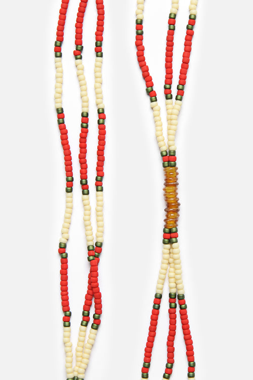 MONTAGNARD BEAD NECKLACE IN RED / CREAM / AMBER - Fortune Goods