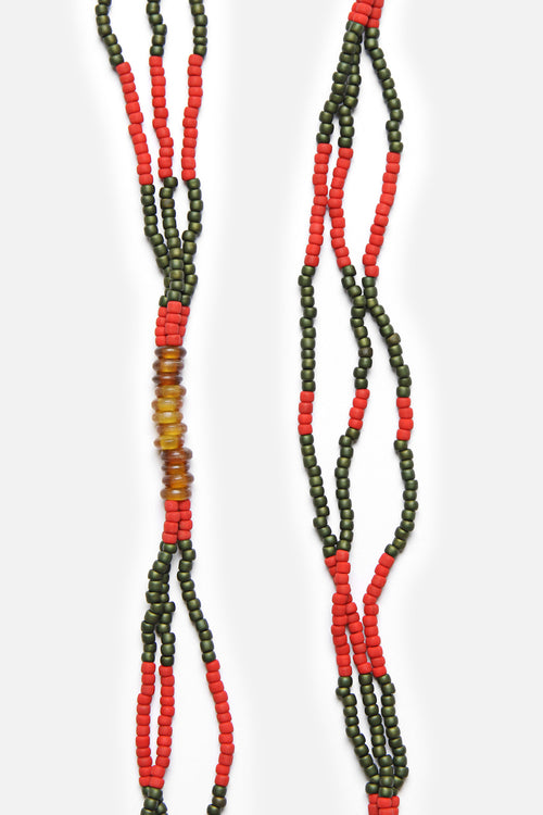 MONTAGNARD BEAD NECKLACE IN RED / GREEN / AMBER - Fortune Goods