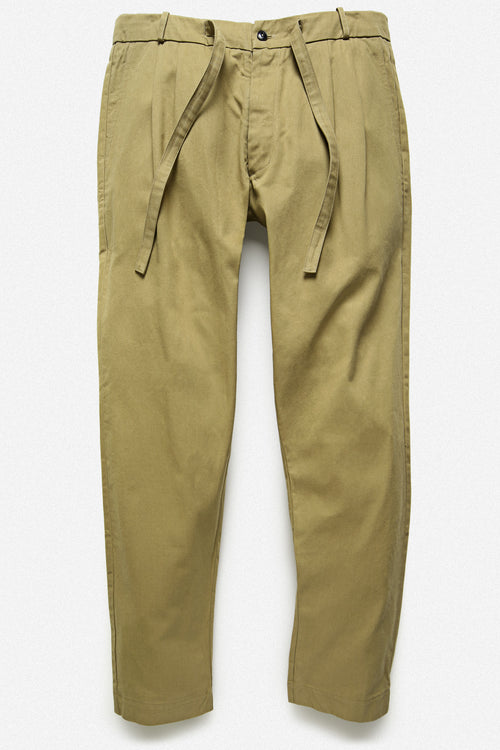 PLEATED TROUSER IN GOLD TWILL - Fortune Goods