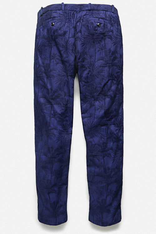 PLEATED TROUSER IN INDIGO PALM - Fortune Goods