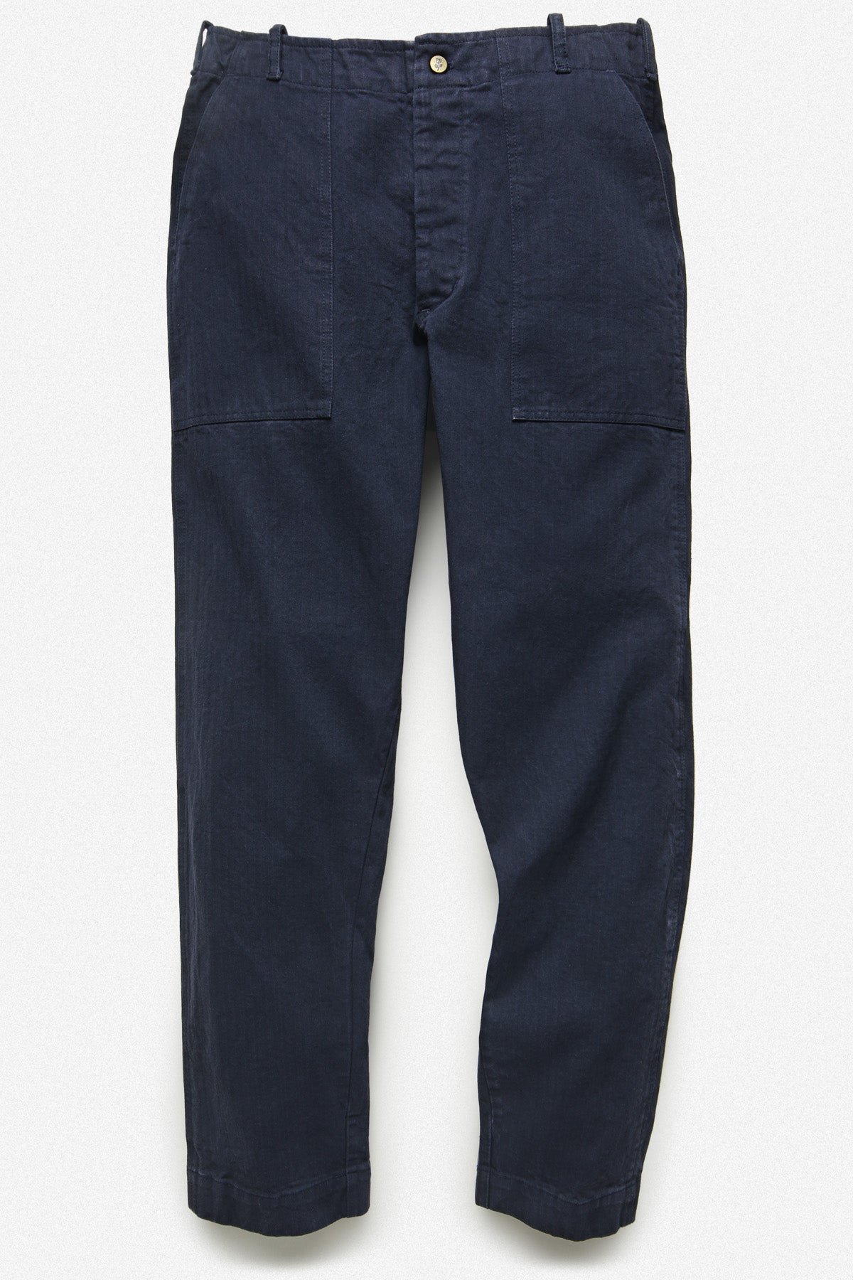 107 PANT IN NAVY HERRINGBONE TWILL - Fortune Goods