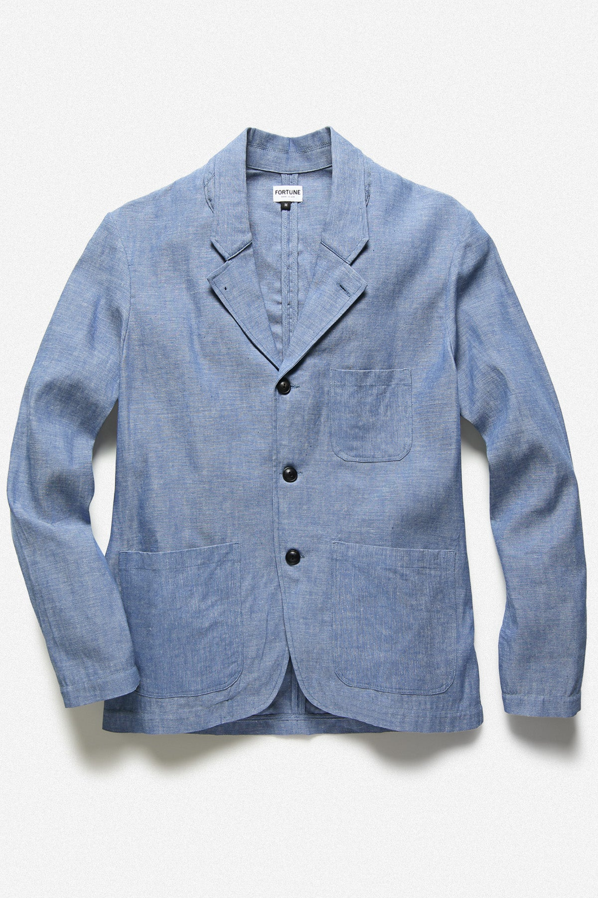 RUM JACKET IN BLUE SELVEDGE CHAMBRAY - Fortune Goods