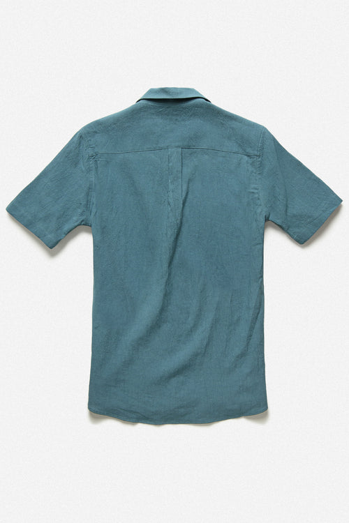 POPOVER SHIRT IN ISLAND BLUE - Fortune Goods