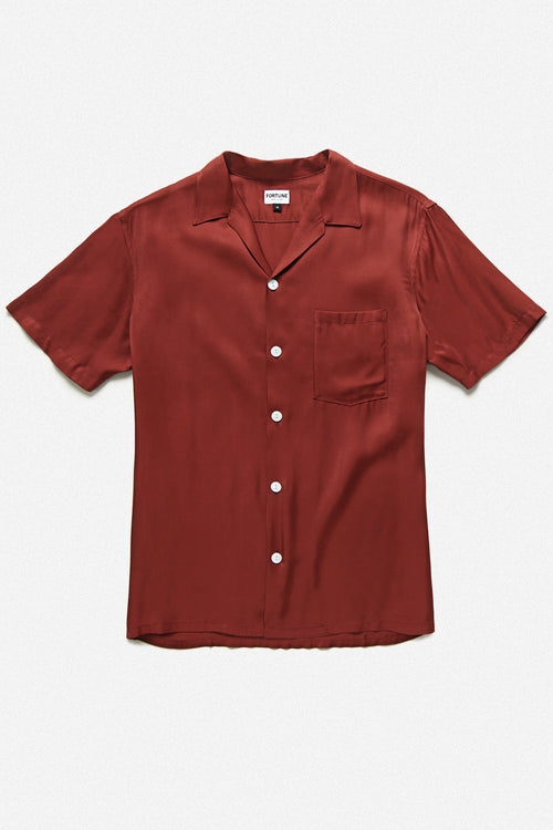 CUBA SHIRT IN BURGANDY RAYON - Fortune Goods