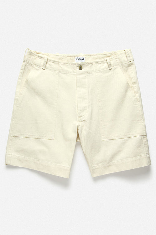 107 SHORT IN PEARL HERRINGBONE TWILL - Fortune Goods