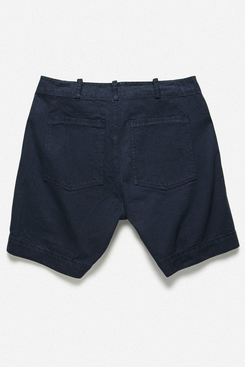 107 SHORT IN NAVY HERRINGBONE TWILL - Fortune Goods