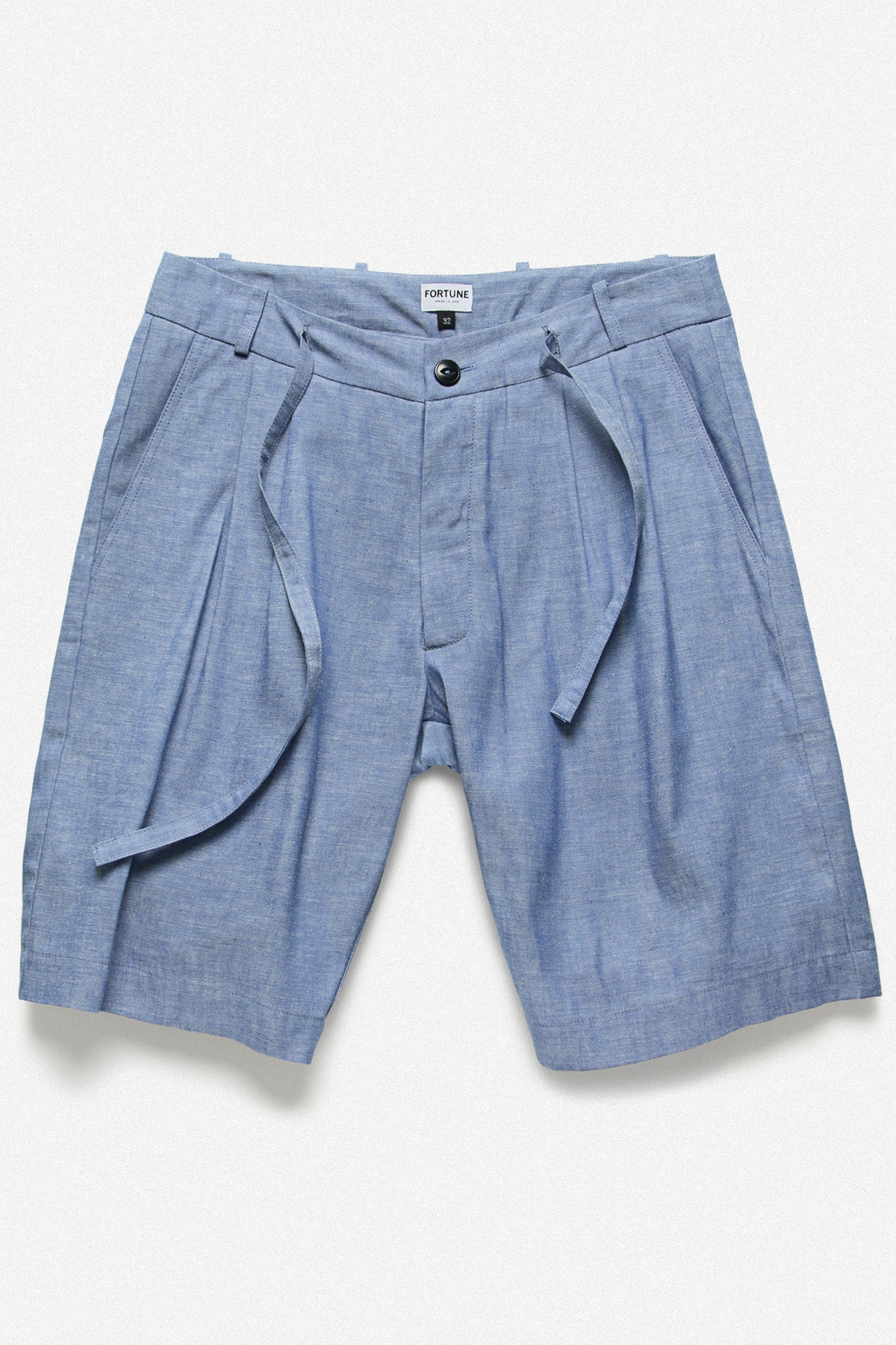 PLEATED SHORT IN BLUE CHAMBRAY - Fortune Goods