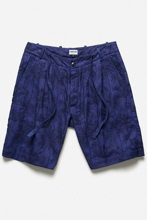 PLEATED SHORT IN INDIGO PALM - Fortune Goods