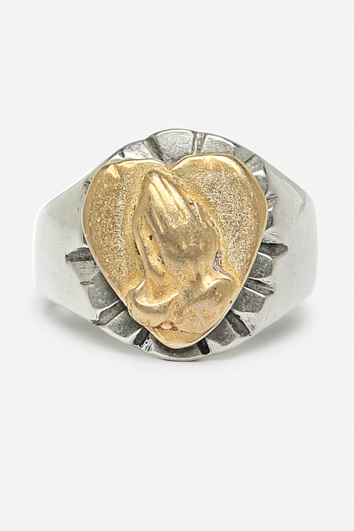 PRAYING HANDS RING IN WHITE BRONZE - Fortune Goods
