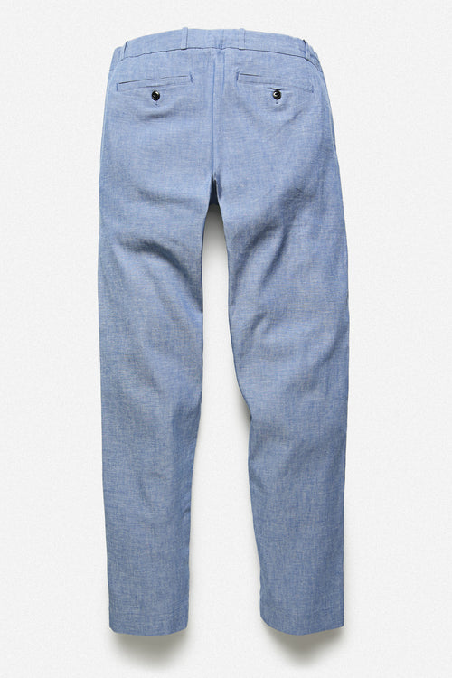 PLEATED TROUSER IN JAPANESE SELVEDGE CHAMBRAY - Fortune Goods