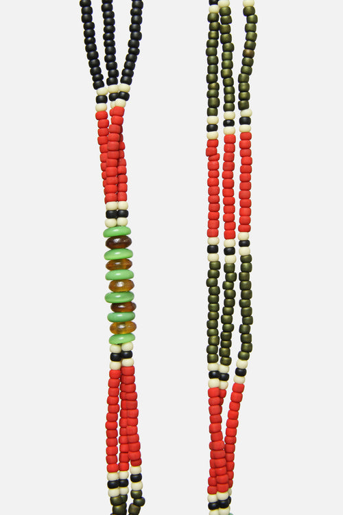 MONTAGNARD BEAD NECKLACE IN RED / BLACK / JADE - Fortune Goods