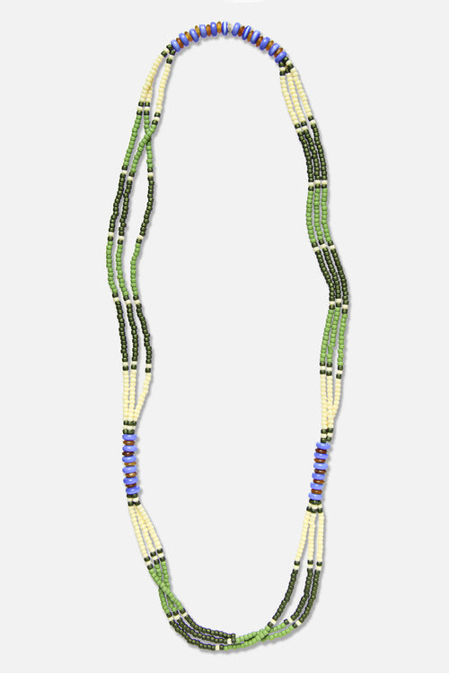 MONTAGNARD BEAD NECKLACE IN GRASS / CREAM / GREEN / LAPIS - Fortune Goods