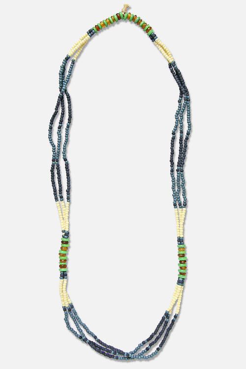 MONTAGNARD BEAD NECKLACE IN INDIGO / NAVY / JADE - Fortune Goods