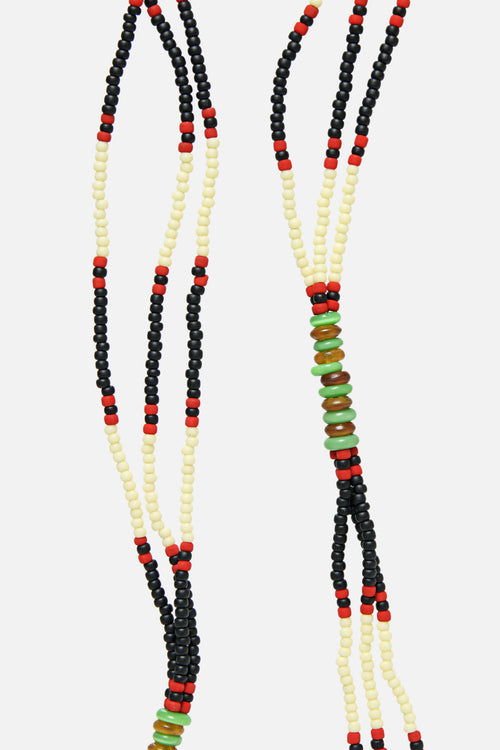 MONTAGNARD BEAD NECKLACE IN BLACK / CREAM / JADE - Fortune Goods