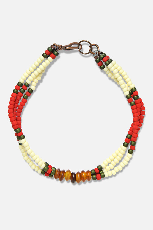 MONTAGNARD BEAD BRACELET IN RED / CREAM / AMBER - Fortune Goods