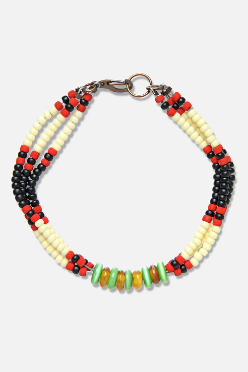 MONTAGNARD BEAD BRACELET IN BLACK / CREAM / JADE - Fortune Goods