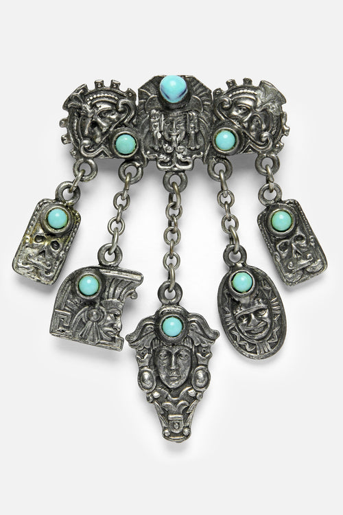 VINTAGE 1950's MEXICAN AZTEC SILVER / TURQUOISE PIN - Fortune Goods