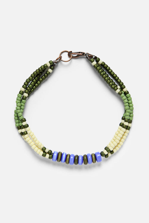 MONTAGNARD BEAD BRACELET IN GRASS / CREAM / GREEN / LAPIS - Fortune Goods