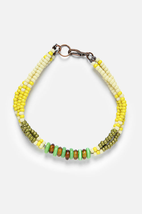 MONTAGNARD BEAD BRACELET IN MAIZE / OLIVE / JADE - Fortune Goods