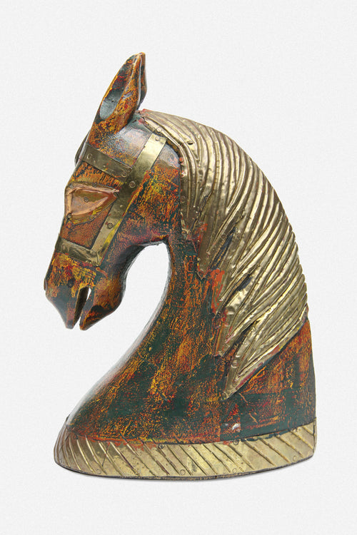 VINTAGE WOOD & BRASS HORSE BUST - Fortune Goods