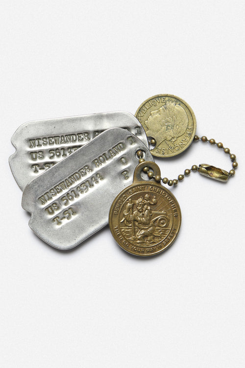 "KOREAN WAR TAGS WITH CHARMS, ""ROLAND NISEWANDER"" - Fortune Goods"