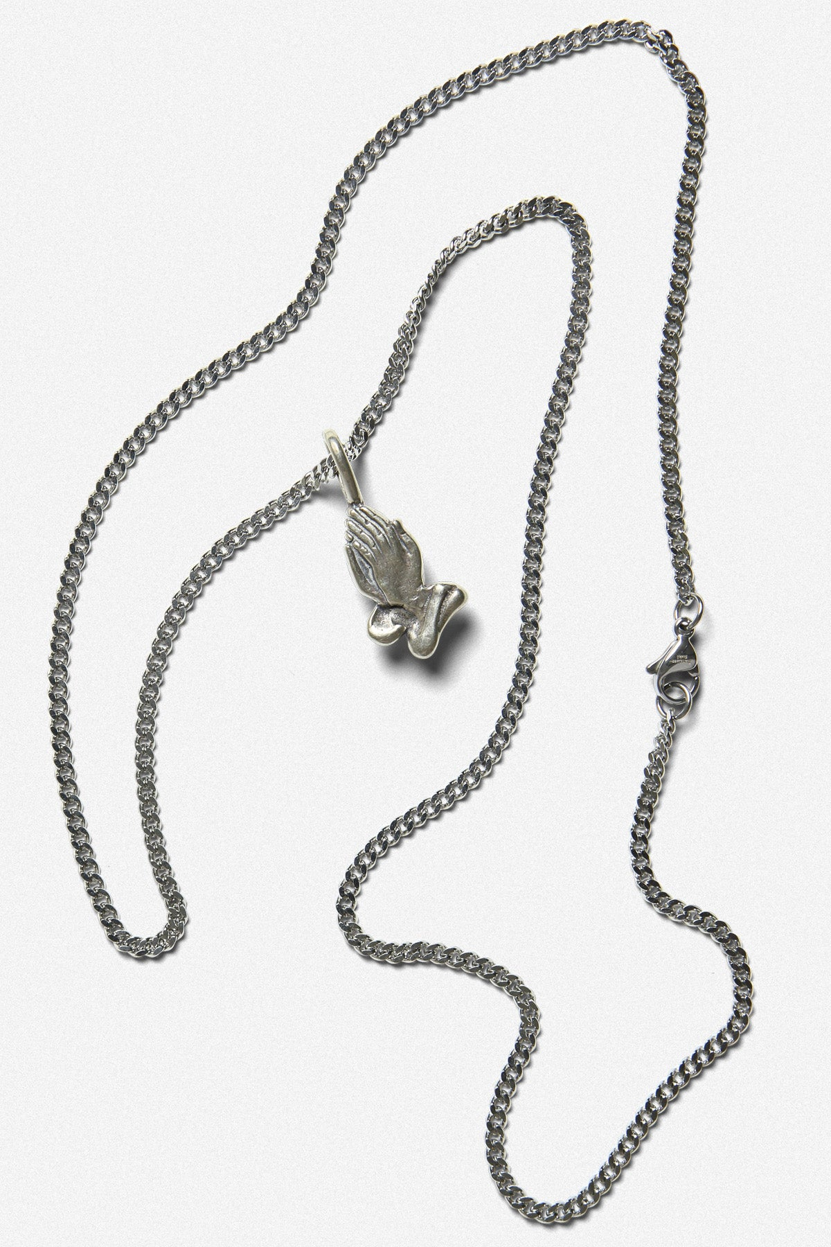 PRAYING HANDS CHARM NECKLACE IN WHITE BRONZE - Fortune Goods