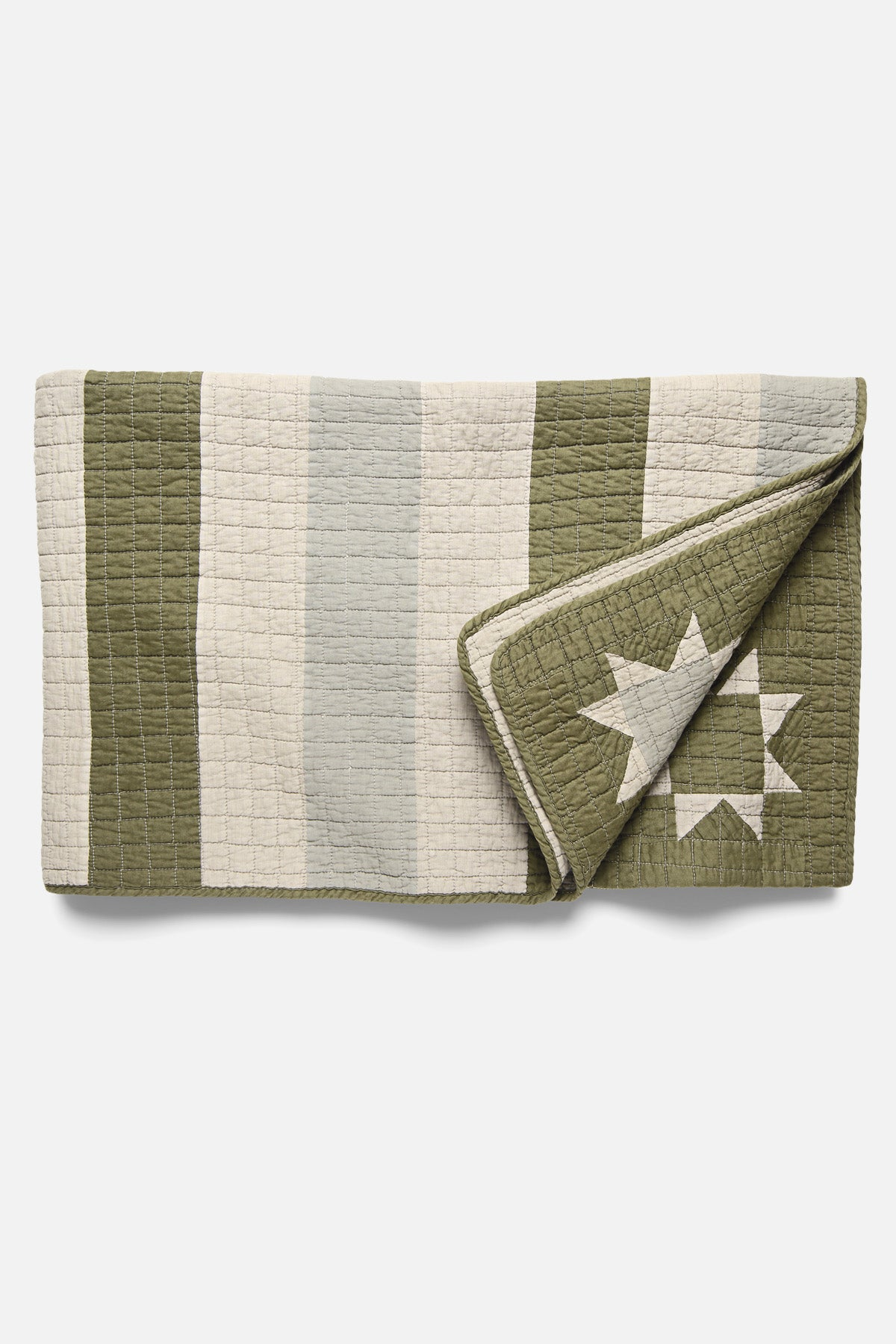 BasShu Patchwork Quilt in Khaki - Fortune Goods