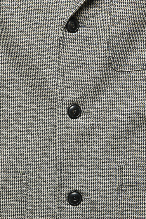 CASS JACKET IN BLUE / KHAKI HOUNDSTOOTH - Fortune Goods