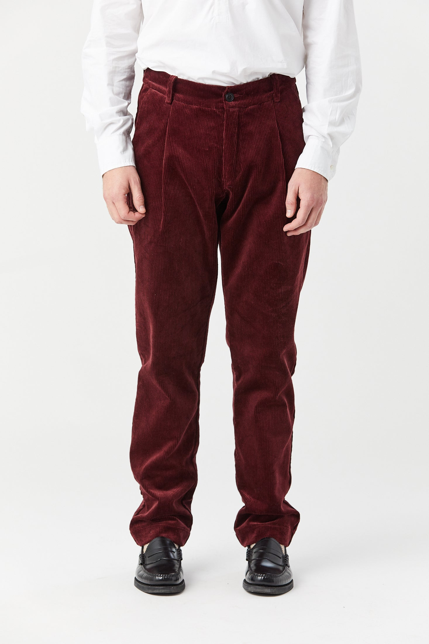 CORKTOWN PLEAT TROUSER IN MAROON CORD - Fortune Goods