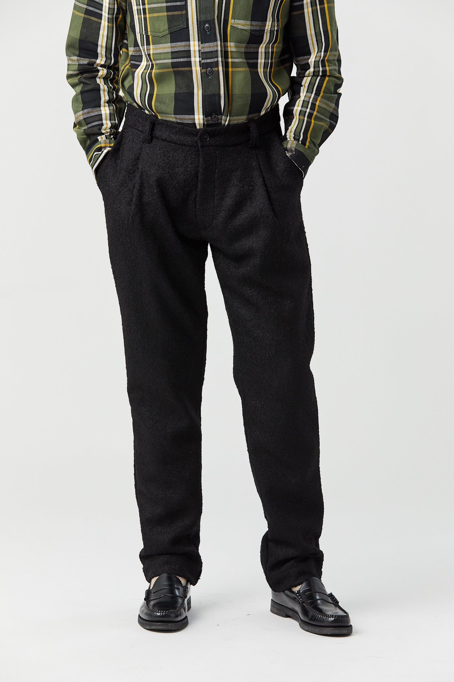CORKTOWN PLEAT TROUSER IN BLACK BOILED WOOL - Fortune Goods