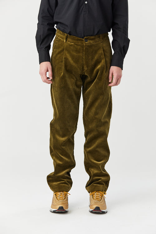 CORKTOWN PLEAT TROUSER IN MOUSE CORDUROY - Fortune Goods