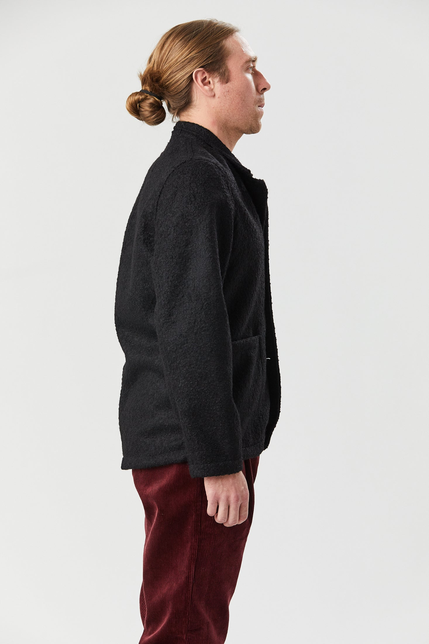 CASS JACKET IN BLACK BOILED WOOL - Fortune Goods