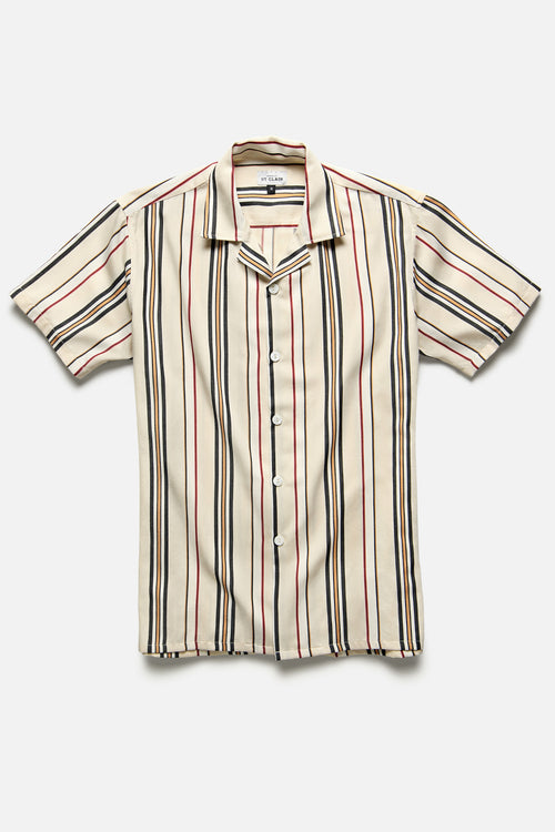 MARRAKECH SHIRT IN NEUTRAL / RED STRIPE - Fortune Goods