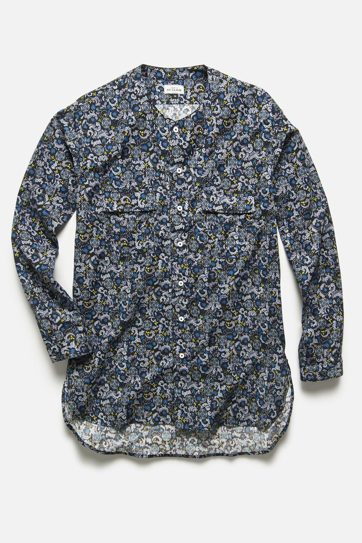 BUTTON DOWN TUNIC IN BLUE/BLACK FLORAL - Fortune Goods
