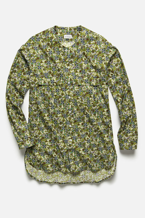 BUTTON DOWN TUNIC IN OLIVE FLORAL - Fortune Goods