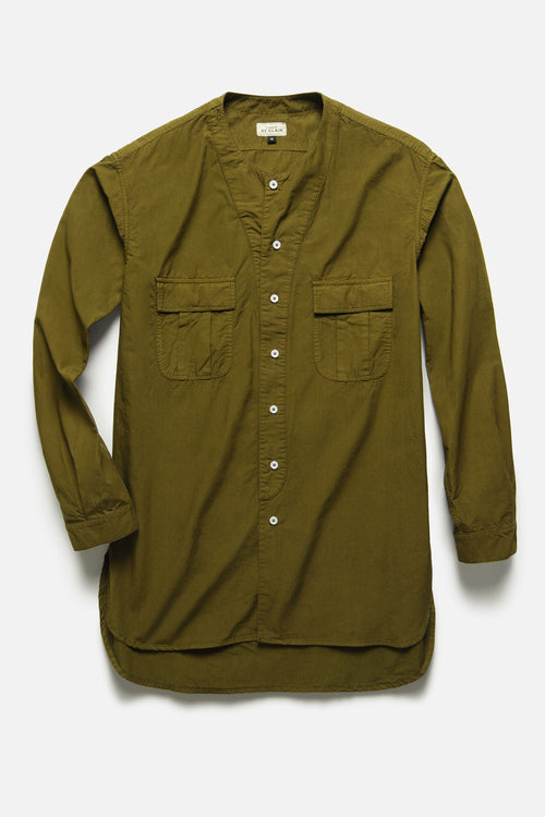 BUTTON DOWN TUNIC IN OLIVE TYPEWRITER - Fortune Goods