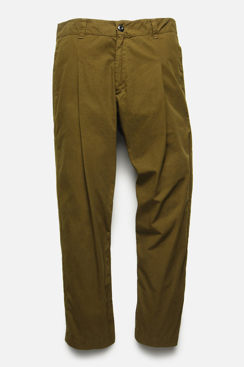 SINGLE PLEAT TROUSER IN OLIVE TYPEWRITER - Fortune Goods