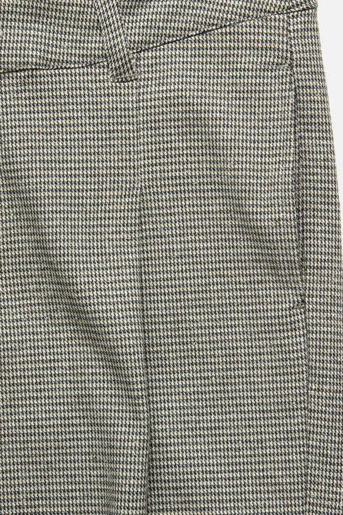 SINGLE PLEAT TROUSER IN BLUE / KHAKI HOUNDSTOOTH - Fortune Goods