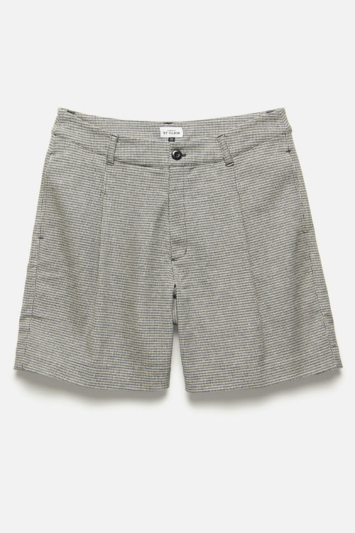 SINGLE PLEAT SHORT IN BLUE / KHAKI HOUNDSTOOTH - Fortune Goods