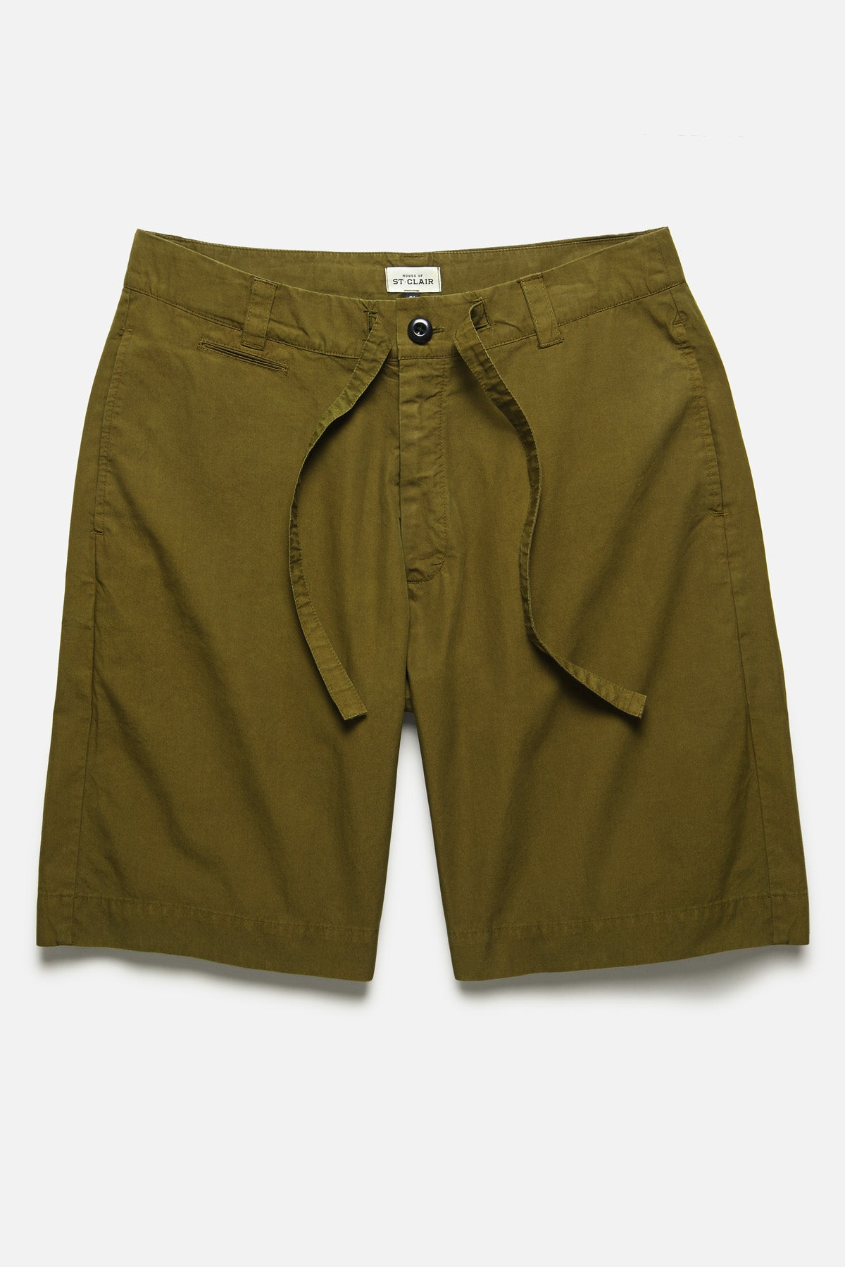 DRAWSTRING SHORT IN OLIVE TYPEWRITER - Fortune Goods