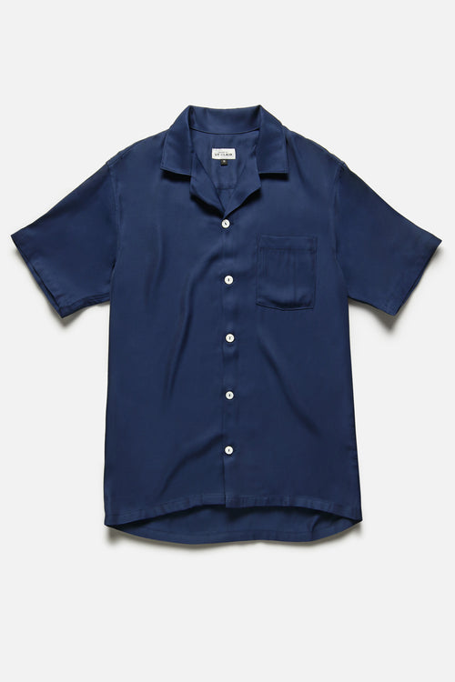 CUBA SHIRT IN BLUE RAYON - Fortune Goods