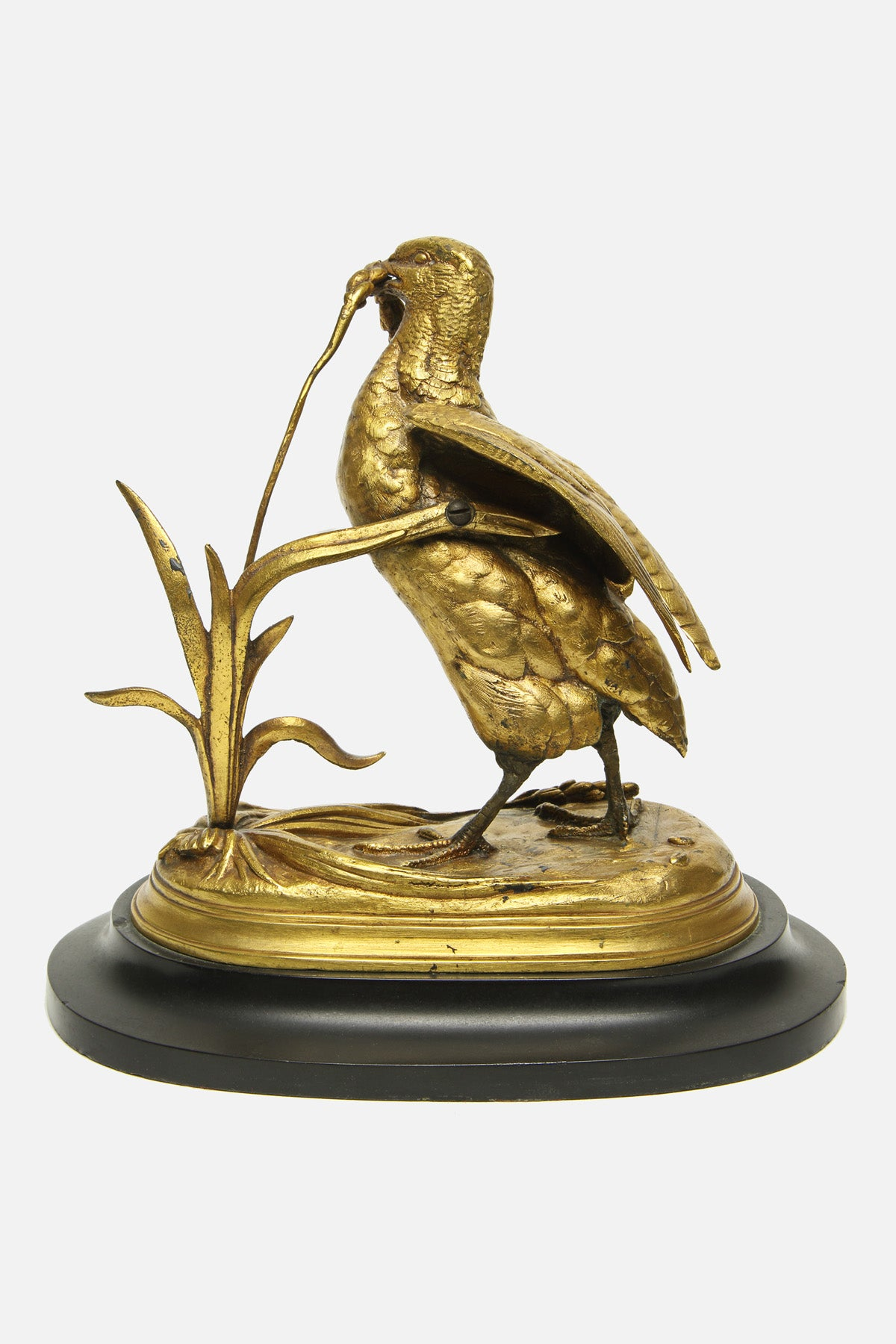 VINTAGE - BRONZE FEEDING BIRD SCULPTURE - JULES MOIGNIEZ - Fortune Goods