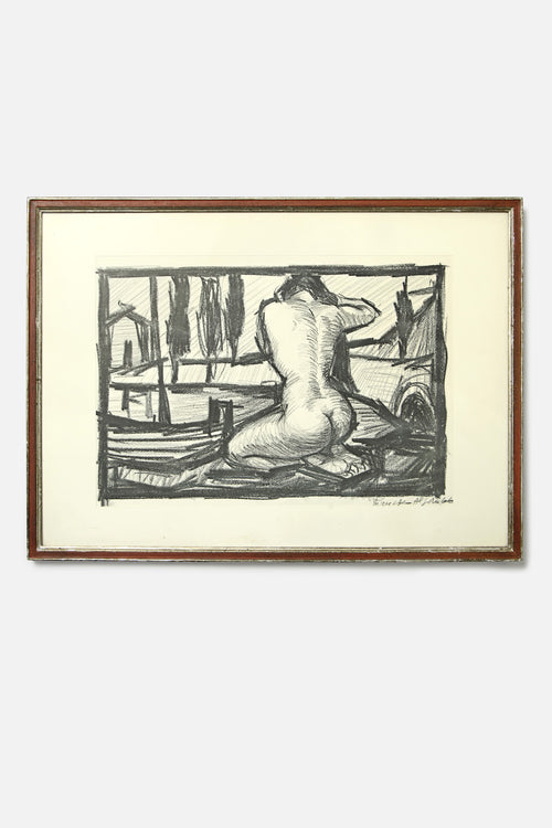 VINTAGE - CHARCOAL NUDE IN LANDSCAPE - Fortune Goods