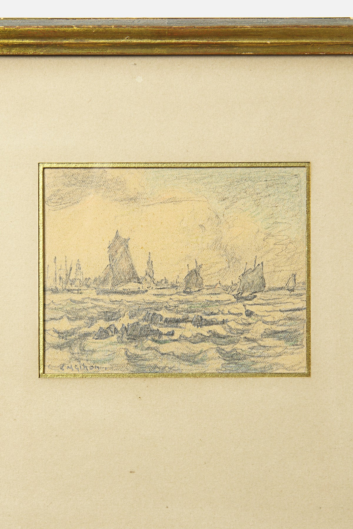 VINTAGE - SEASCAPE WITH SAILING VESSELS - Fortune Goods