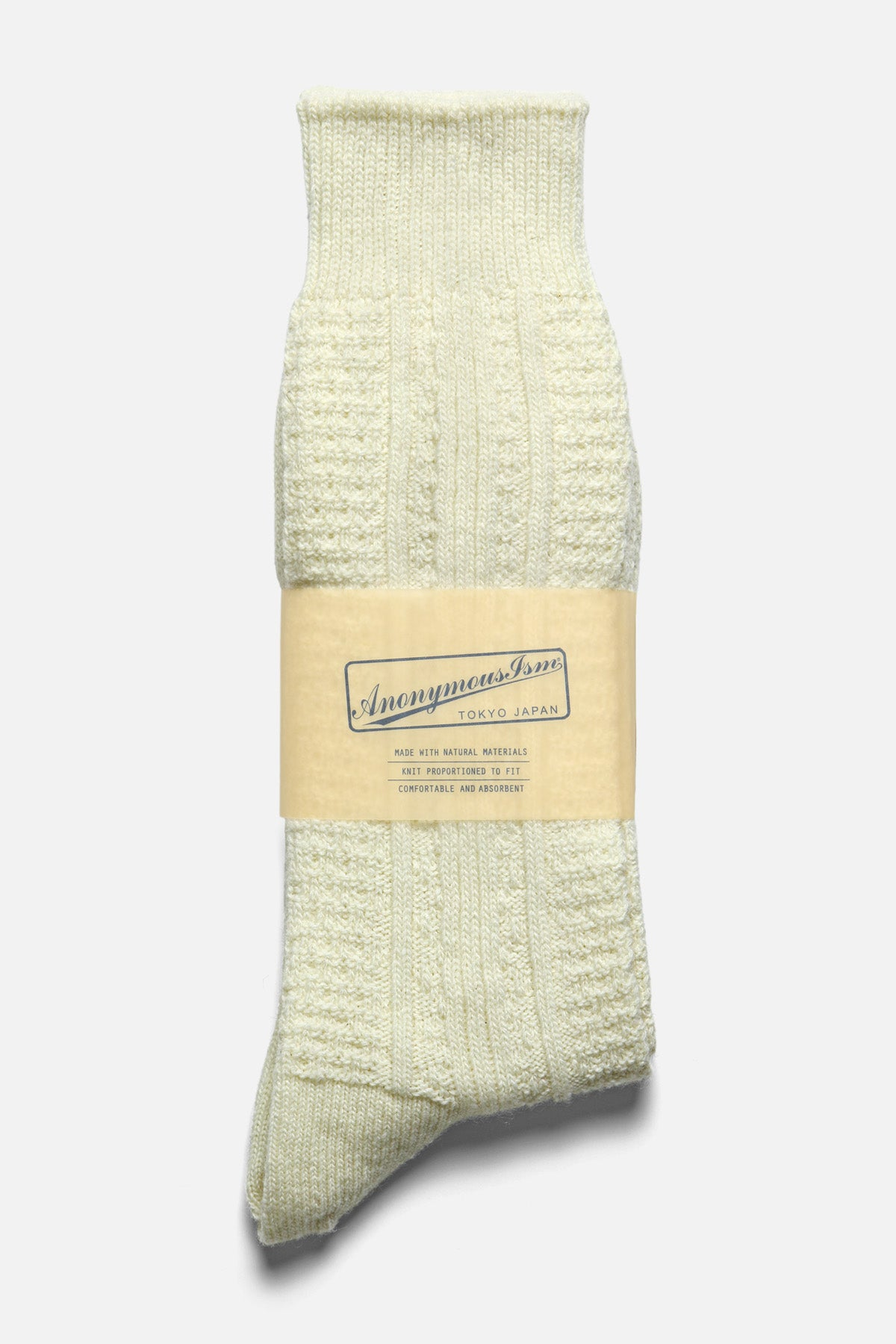 ANONYMOUS ISM - CASHMERE WOOL LINK CREW IN OFF WHITE - Fortune Goods