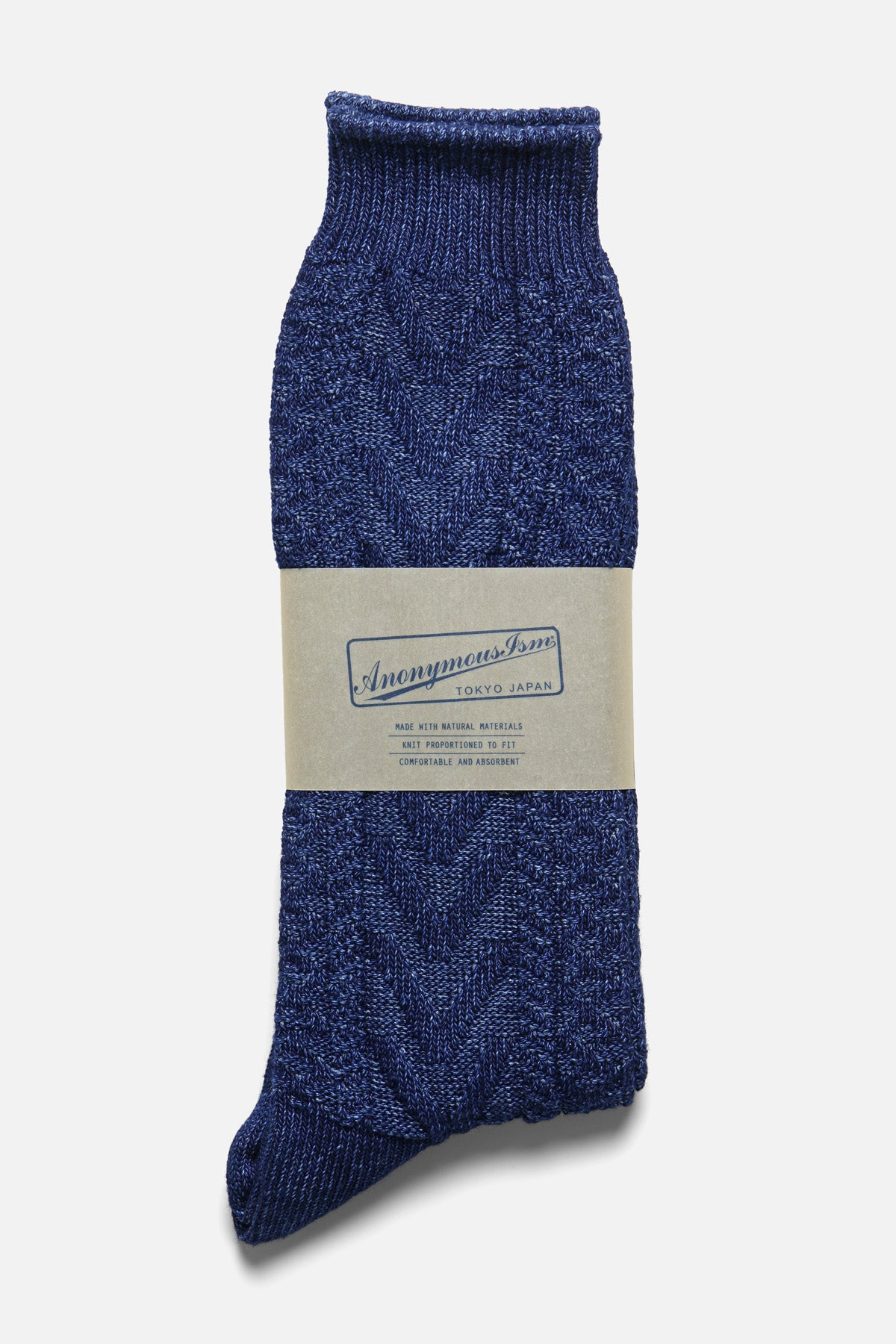 ANONYMOUS ISM - INDIGO RIB CREW IN LIGHT NATURAL INDIGO - Fortune Goods